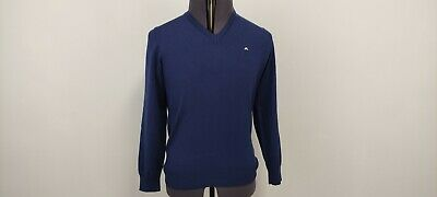 £9.99 • Buy J Lindeberg Mens Casual Pullover Jumper Sweater Pure Wool Blue Y Neck M