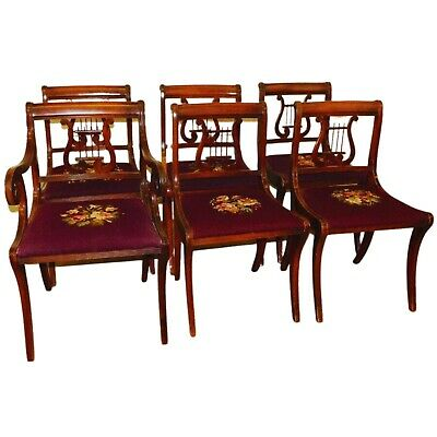 $999 • Buy Antique Chairs, Dining, Set Of 6 Mahogany Dining Chairs With Needlepoint Seats!!