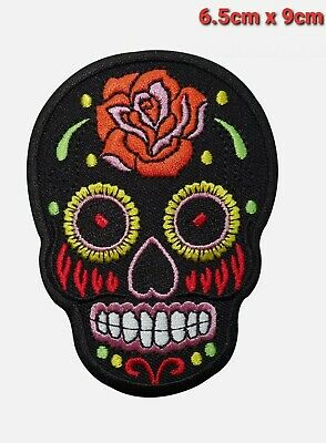 £1.95 • Buy Black Skull Rose Flower Embroidered Iron / Sew On Patch Clothes Badge Transfer