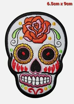 £1.95 • Buy White Skull Rose Flower Embroidered Iron / Sew On Patch Clothes Badge Transfer
