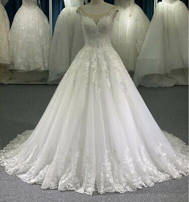 $ CDN193.58 • Buy Princess A-Line Wedding Dresses Chapel Train Bridal Gowns Custom Made Plus Size