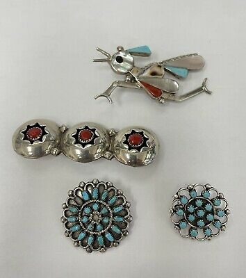 $ CDN211.74 • Buy Zuni And Navajo MIXED LOT Sterling Silver And Turquoise Pins/Brooch