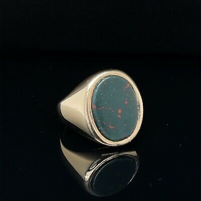 £450 • Buy Heavy Weight Bloodstone Signet Ring 9ct Gold