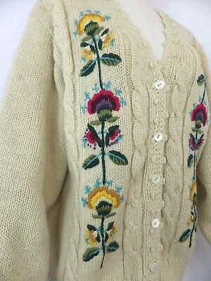£73.99 • Buy Vintage Cream Floral Cable Aran Cardigan Sweater Folk Embroidered Pure Wool 14 M