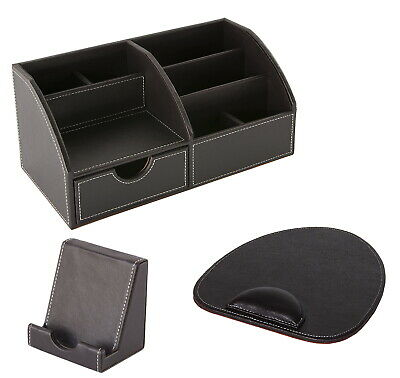 £29.95 • Buy Osco Faux Leather Desk Set With Desk Tidy Mouse Mat And Phone Holder