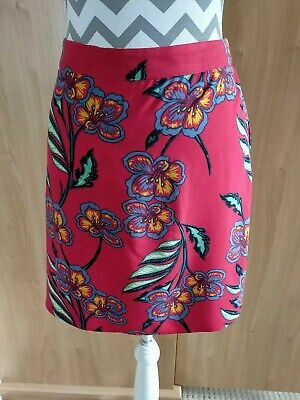 £5.99 • Buy Red Tropical Floral Skirt Size 14 Papaya Elasticated Rear Waistband
