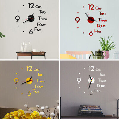 £4.19 • Buy Modern DIY 3D Large Number Wall Clock Mirror Sticker Office Xmas Room Home Decor