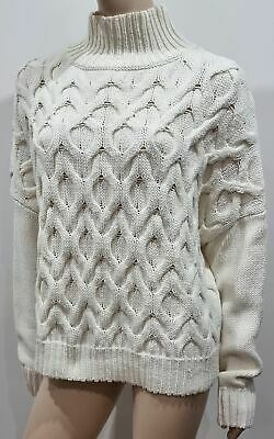 £65 • Buy REISS Cream Cotton Chunky Cable Knit Wide Width Slouchy Jumper Sweater Top S