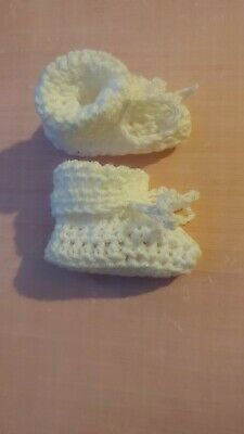 £2.20 • Buy Handmade Crocheted/Knitted Newborn Hospital Cuffed Booties 0-3months In White.