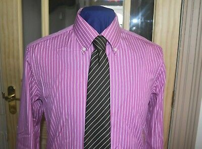 £14.95 • Buy M&S Sartorial Mens Pink Pin Striped Shirt Tailored Fit 100% Cotton Collar 15