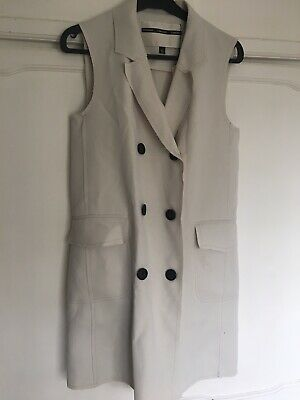 £14 • Buy Topshop Boutique Ivory Double Breasted Blazer Dress Raw Edge Size 10