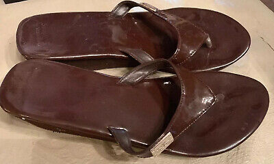 £5.48 • Buy Womens Simply Vera Wing Wedge Sandals Thongs Brown Patent Leather Sz 9