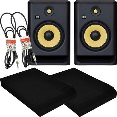 £469 • Buy KRK Rokit RP8 G4 Active DJ Studio Monitor Speakers PAIR Inc Pads And Pro Cables