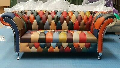 £1300 • Buy Patchwork Chesterfield Sofa Leather Multi Colour (2 Seater) (£2495 RRP)