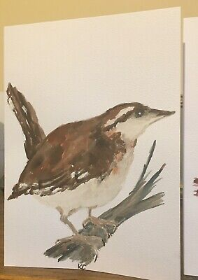 £4.50 • Buy Hand Painted Watercolour Birds Blank Greeting Cards And Envlopes X4