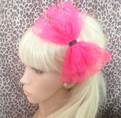 £3.99 • Buy BIG BRIGHT NEON PINK LACE BOW ALICE HAIR HEAD BAND 80s RETRO PARTY FANCY DRESS