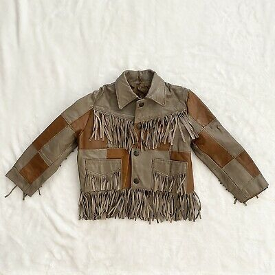 £20.53 • Buy Lariat Leather Patch Fringe Western Jacket Child Size 2 Brown And Tan