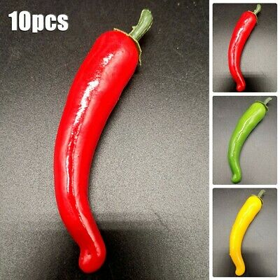 £3.68 • Buy 10xLarge Artificial Chillies - Artificial Fruit Vegetables Peppers 3Colors Hot