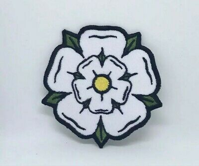 £1.79 • Buy White Yorkshire Rose Iron On Sew On Embroidered Patch