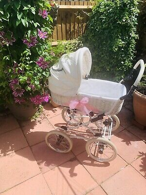 £125 • Buy 💕 Baby Fashion 💕 Wicker And Faux Leather Pram 💕 And Pushchair 💕