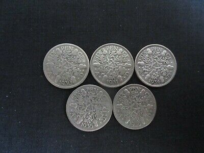 £10 • Buy 5 George V Silver Sixpences 1930/1931/1934/1935/1936 In Fine Condition S1