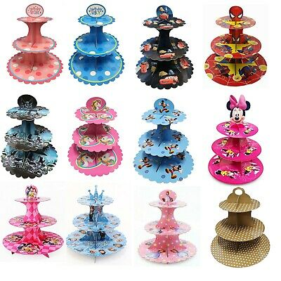 £9.95 • Buy 3 Tier Cupcake Stand Muffin Holder Cardboard Cake Rack Princess Kids Party Gift