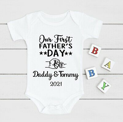 £7.50 • Buy Personalised First Father's Day Baby Grow Vest Bodysuit Any Name Gift
