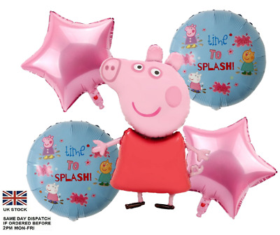 £6.50 • Buy 5pcs PEPPA PIG George Foil Balloons Birthday Party Decoration Air Helium Fill