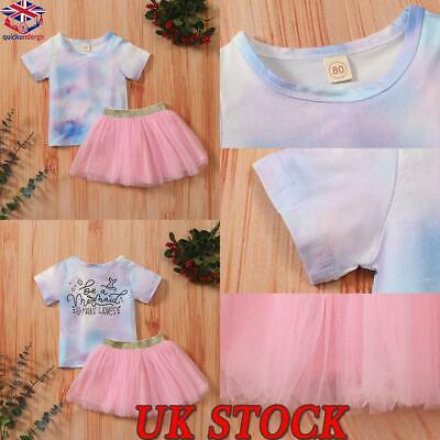 £10.99 • Buy Infant Toddler Baby Girls Tie Dye Print T-Shirt Tops Tutu Skirts Summer Outfits