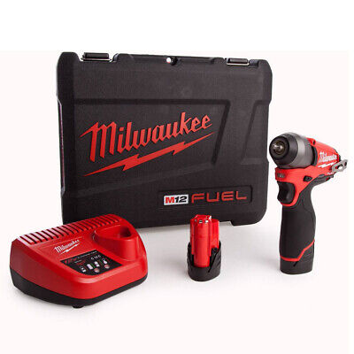 £135 • Buy Milwaukee M12BIW14-202C 12V Compact 1/4in Impact Wrench Kit 2 X 2.0Ah Batteries