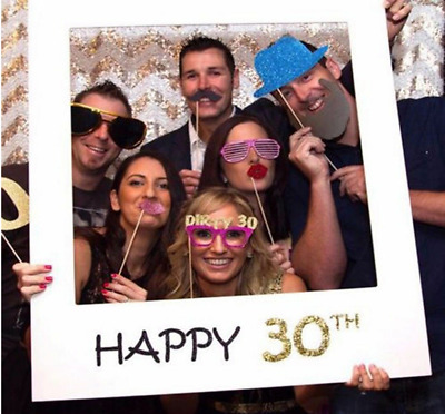 £3.95 • Buy 18/30/40/50th/60th 21st Frame Photo Booth Props Paper Happy Birthday Party Decor