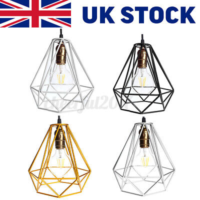 £11.99 • Buy Retro Pendant Light Shade Ceiling Industrial Geometric Wire Cage Lampshade Lamp
