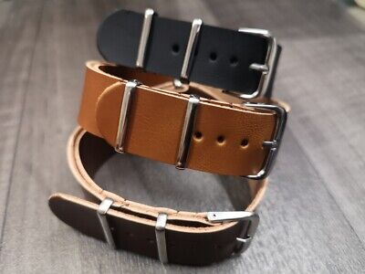 £4.29 • Buy Leather Watch Strap Band G10 Zulu Military Diving Leather Strap 18mm 20mm 22mm