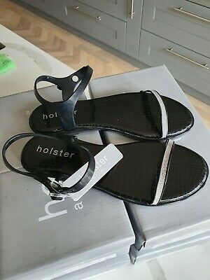 £13 • Buy Holster Sandals, Black With Silver Strap, Uk Size 4, 5, 7