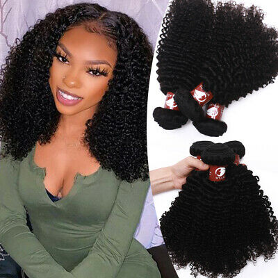 £15.27 • Buy Afro Curly Virgin Peruvian Human Hair Weft Long Sew-In Weaves 300g 400g THICK Ey