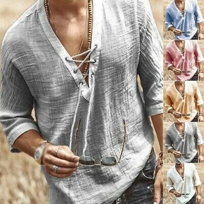 $15.81 • Buy Mens Casual Long Sleeve Cotton Linen Blouse Loose Henley V-Neck Tops T Shirts