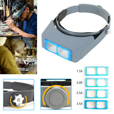 £12.99 • Buy Magnifying Glass Lamp Head Loupe Headband Magnifier Tools Jewelry Gift Gray