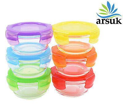 £9.99 • Buy Glass Food Containers Reusable Lunch Box Kitchen Storage Airtight Multicolor 6pc