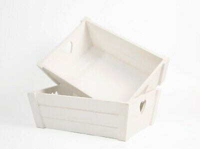 £9.99 • Buy White Wooden Crate With Heart Shape Handles Home Storage Box Gift Hamper