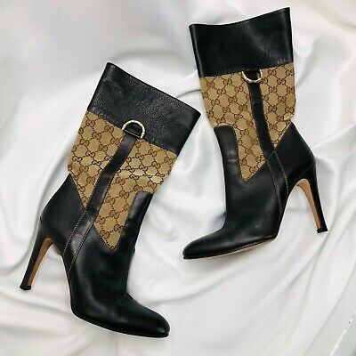 £275 • Buy Gucci Boots Heels Monogram 39 / 6 Logo Brown Leather Canvas GG Authentic
