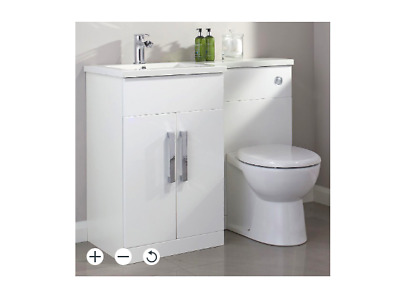 £265 • Buy B&Q Cook & Lewis Ardesio Gloss White L-handed Vanity & Toilet Unit / New