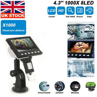 £29.99 • Buy 1000X 4.3 Inch Microscope Electronic Digital Video 8LED Magnifier HD LCD Monitor