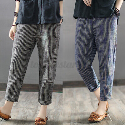 £9.49 • Buy 2021 Womens Cotton Linen Baggy Harem Pants Casual Loose Cropped Long Trousers