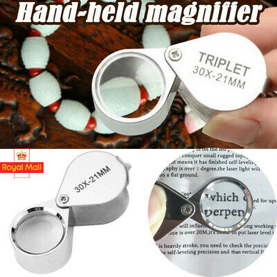 £2.49 • Buy Jewellers Foldable Magnifying Eye Glass Loupe Diamond Silver Inspection 30X