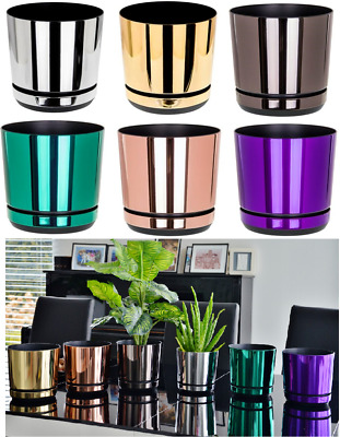 £5.99 • Buy Modern Plastic Flower Plant Pot Small Large Indoor Planter With Saucer Mirror