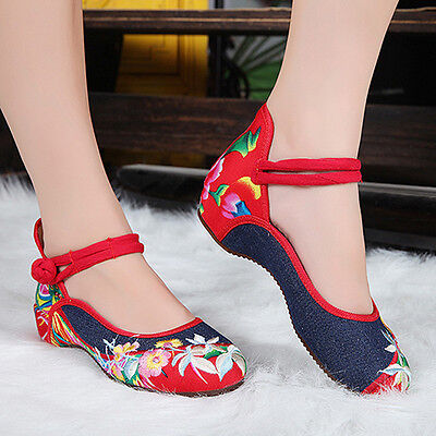 £9.99 • Buy Vintage Womens Chinese Embroidered Pattern Strappy Casual Canvas Flat Heel Shoes