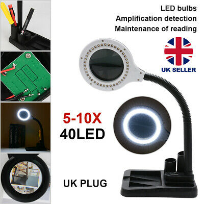 £10.59 • Buy 40 LED Desk Lamp Magnifying Magnifier Glass With Light Stand Clamp Repair Read