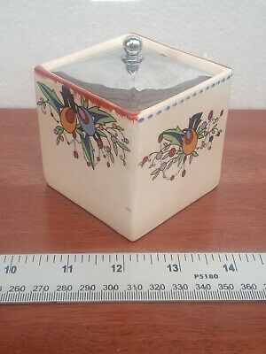 £17.99 • Buy Hand Painted Art Deco Floral Jam Sugar Pot By Parrot & Co Coronet Ware Cube