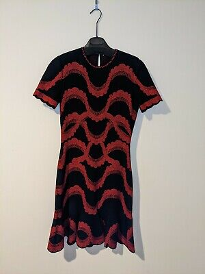 AU300 • Buy Alexander McQueen Black And Red Knit Fitted Dress (Size L) Made In Italy