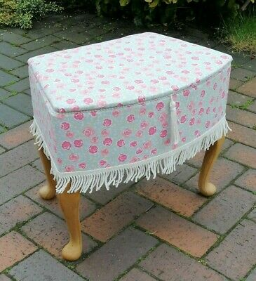 £39.99 • Buy Vintage Sewing Box Stool Footrest Footstool Queen Anne Legs Made In England